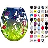 MSV 140764 Lanyu - Tapa de WC (madera DM y acero inoxidable, 42,5 x 36,5 x 1,6 cm), diseño de flores, color verde