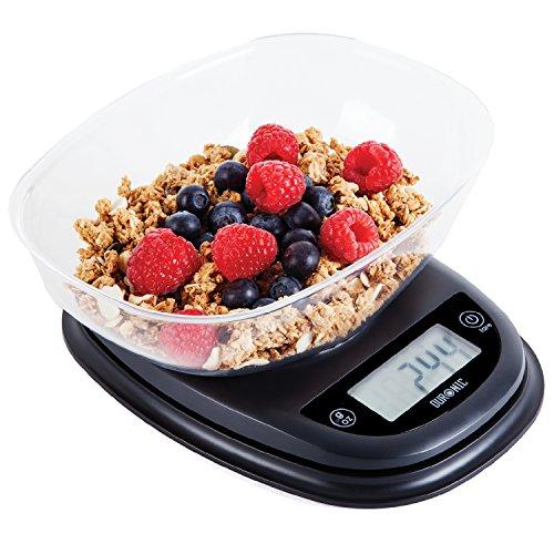 Duronic ks2000 – bilancia da cucina elettronica - ciotola in plastica - portata 1g / 5 kg - display digitale - funzione tara