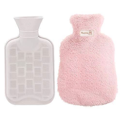 Wärmflasche mit Bezug, MMTX Wärmflaschenbezug mit Super Soft Luxury Plüschbezug Sicher und Langlebig (Anthrazit)- Rosa