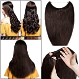 Invisible Wire in Human Hair Extensions No Clip One Piece Remy Real Hair