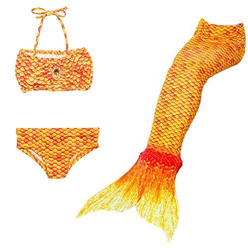 Superstar88 Meerjungfrau Badeanzug Mädchen Niedliche Meerjungfrau Kostüm 3pcs Bikini-Sets ,Hochwertige und Niedliche Kinder Schwimmflossen (140, Orange) (Kreative Sport Kostüm Ideen)