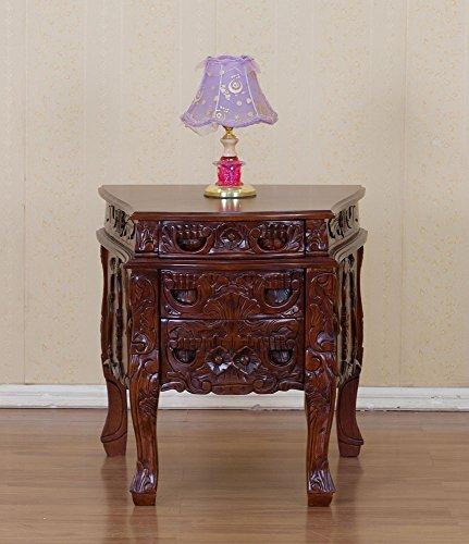 Rokokonachttisch Nachttisch Bettbeistelltisch Nachtschränkchen Kommode Farbe:Nussbaum Breite69xTiefe67xHöhe70cm