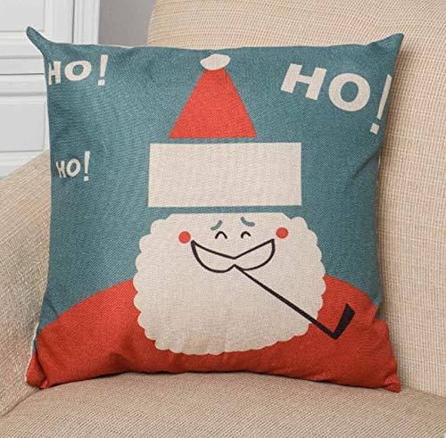ALILEO Weihnachtskissenbezug Frohe Weihnachten Buchstaben Kissenbezug Platz Leinen Kerst Santa Kissenbezug Für Dekoration Weihnachtsdekor, 8 Ho Weihnachtsmann, 45X45 cm Kissen -