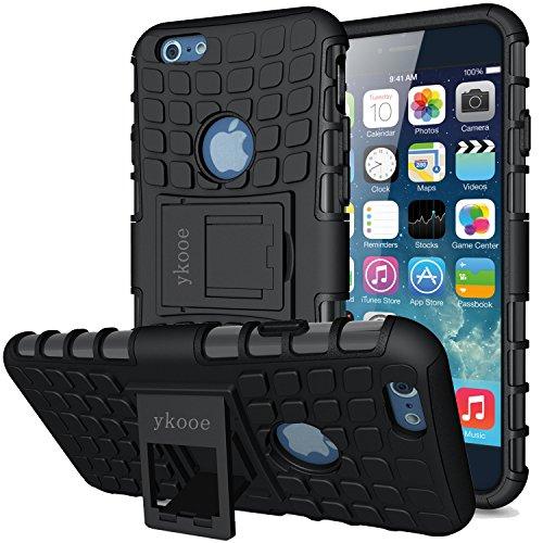 ykooe Handyhülle kompatibel für iPhone 6 Hülle, (TPU Series) iPhone 6 Dual Layer Hybrid Handy Schutzhülle mit Ständer für iPhone 6 und 6s [4,7 Zoll] Schwarz (Schutzhülle Iphone 6 Fällen)
