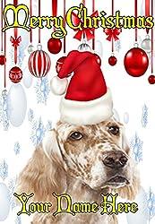 English Setter Dog ptcc143Santa Hat Xmas Weihnachten Karte A5personalisierbar Karten geschrieben von uns Geschenke für alle 2016von Derbyshire UK...