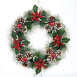 mysticall-Weihnachten-Tannenzapfen-Kranz-knstliche-PVC-Weihnachtsgirlande-Ring-mit-grnen-Blttern-Tannenzapfen-Pine-Needle-Red-Ball-Dekoration-38-38cm
