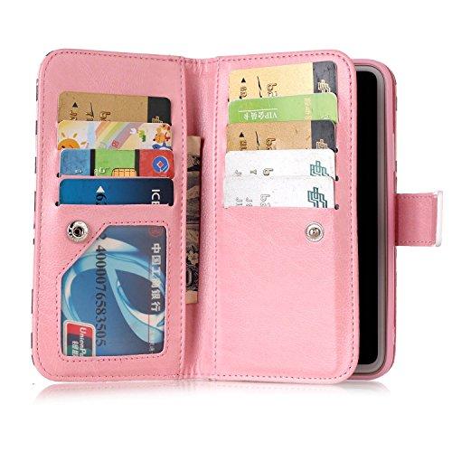 inShang Custodia per iPhone X 5.8 inch con design integrato Portafoglio, iPhoneX 5.8inch case cover con funzione di supporto. + inShang Logo pennino di alta classe Purple Dandelion
