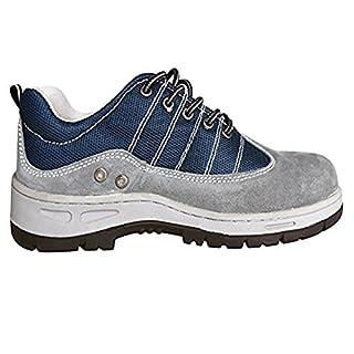 Aituo Unisex Wasserdicht Leder Sicherheit Arbeitsschuhe schwarz Stahl Zehen für Männer Frauen, Grau (44)