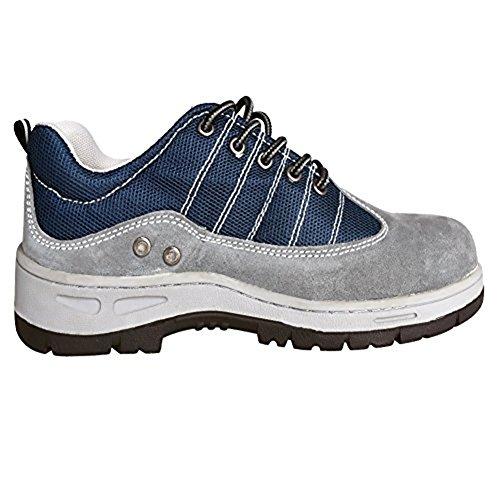 icht Leder Sicherheit Arbeitsschuhe schwarz Stahl Zehen für Männer Frauen, Grau (44) (Stahl Zehen Stiefel Wasserdicht)