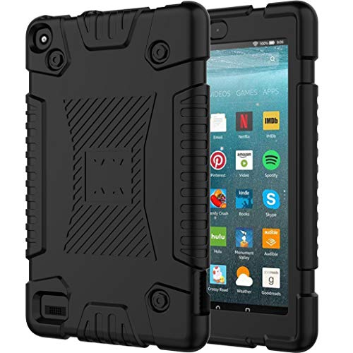 Dkings für Kindle Fire 7 Case 2019 All-New Tablet Case Ständer Smart Cover für Amazon Kindle Fire 7-Zoll-Tablet Generation 2019, für Amazon Kindle Soft Silicone Rugged Cover (Black)