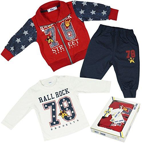 Kinder Baby Jungen Kleidung Paket Geschenk Set 3 tlg Sweat Jake Hose Lang Arm Shirt 21092, Farbe:Rot;Größe:6 (Harem Kostüme Hund)