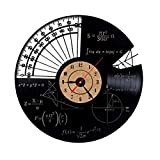 XIAODIANER Wanduhr Mathematik Algebra Geometrie Vinyl Records Mathematik Wissenschaft Quarz Dekorative 3D Moderne Wohnkultur