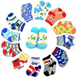 Bebé Calcetines SWEETBB 1-3 años de niño del bebé antideslizante calcetines de algodón para los muchachos (6/12 Paquete)