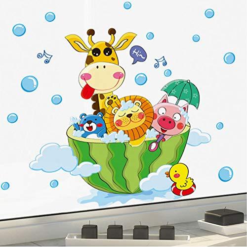 Lwfxc Cartoon Wassermelone Wandbild Dekor Aufkleber Giraffe Lion Pig Bade Wand Grafik Poster Badesaal Wandtattoo Für Kinder 20 Cm * 30 Cm