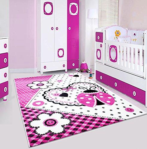 Preisvergleich Produktbild Kinder Teppiche_Wohnzimmer, Gästezimmer, Jugenzimmer Teppiche_HAPPY1801PINK_Spielteppich, Maße:80x150 cm