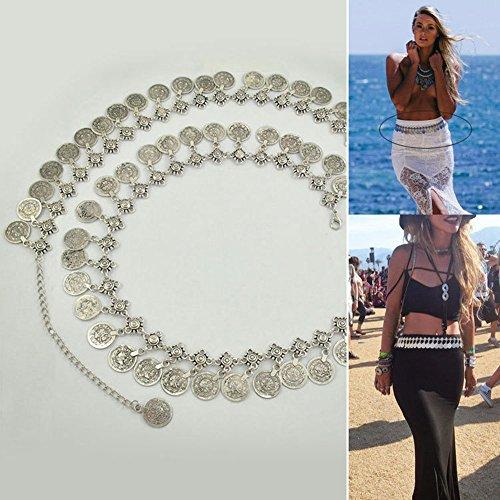 Bauchtanz Über Kostüme (Misika Damen Münzen Bauchtanz Hüftgürtel Schmuck Bauchgurt Bauchtanzgürtel)
