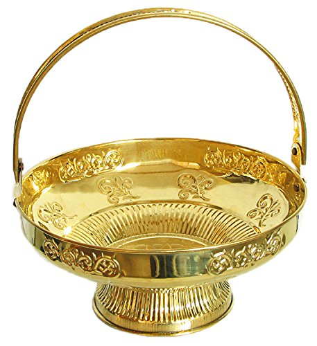 DollsofIndia Brass Flower Basket for Puja - Dia - 7.5 inches & Height - 3 inches