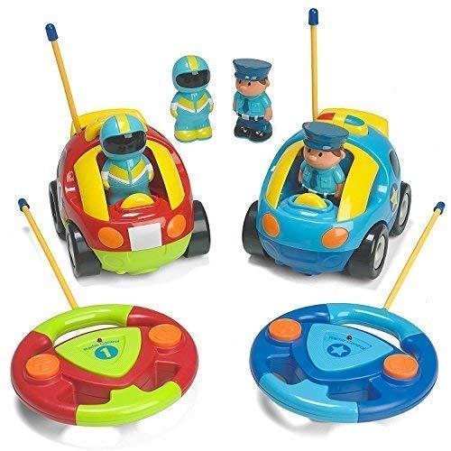 Cartoon R/C Police Car und Race Car Radio Control Spielzeug für Kinder - jeweils mit unterschiedlichen Frequenzen, so DASS beide zusammen Rennen Fahren können,Multicolored