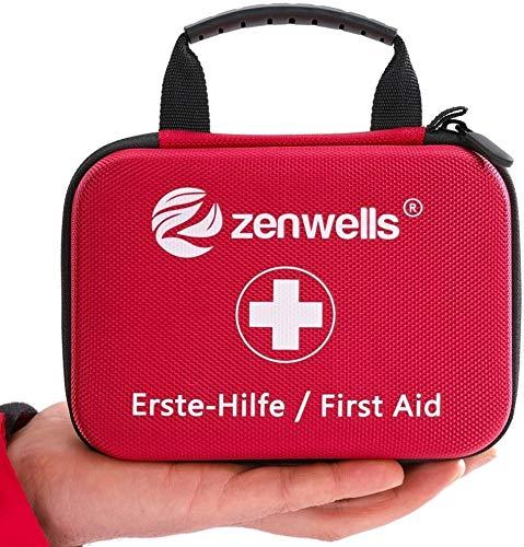 Erste Hilfe Set - Perfekt für Wandern, Outdoor, Fahrrad, Sport und Reisen - First Aid Kit mit BONUS Notfall Trillerpfeife, Pinzette und Karabiner