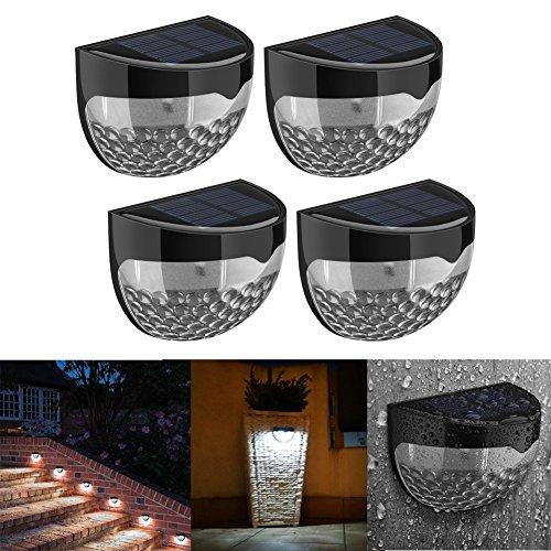 4 Stück 6 LEDs Solarleuchte solarleuchten Wasserdicht Gartenleuchte, Solar Außenleuchte, Wandleuchte fürGarten, Zaun, Garten, Garten Deko, Garage, Treppe usw. (Kaltweiß)