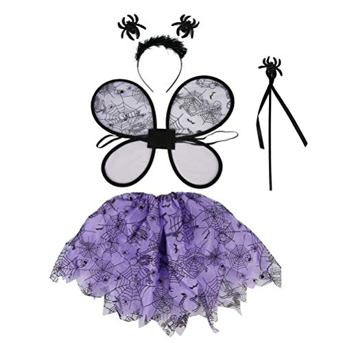 BESTOYARD Kinder Cosplay Kostüm Halloween Spinne Fee Flügel Zauberstab Stirnband Tutu Nette Einstellbare Dress up für Kinder Kleinkinder 4 Pcs