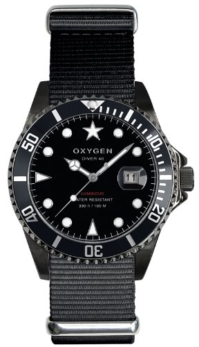 Oxygen - EX-D-MBB-40-BL - Diver - Montre Homme - Quartz Analogique - Cadran Noir - Bracelet Nylon Noir