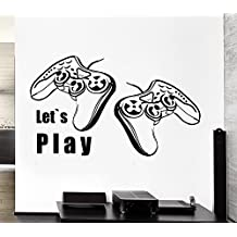 ELTON Let's Play Controller Quote Decal Sticker Wall Vinyl Art Design Gamer Cool Funny Game Room