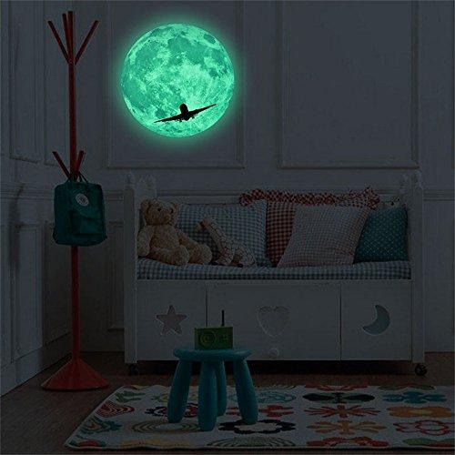 Zegeey 3D großer Mond Fluoreszierende Wandaufkleber abnehmbare im Dunkeln leuchten Aufkleber 30cm Durchmesser