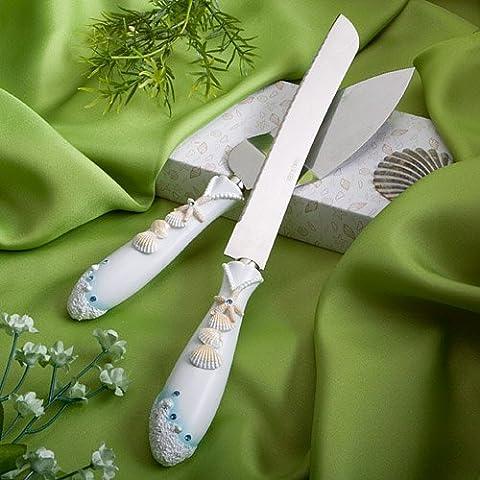 Finition Collection Touches plage mariage orienté couteau à gâteau et un ensemble serveur