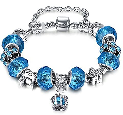 Christmas' Day Gifts European Hot Fashion Style Blue Glass Beaded Silver Plated Diy Charm Bracelets for Women Teen Girls(7.08/18cm ) by Aurora Tears