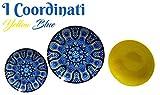 MAISON TORTORA' SET 18 PIATTI I COORDINATI (6 PIANI - 6 FONDI - 6 FRUTTA) (Yellow-Blue)
