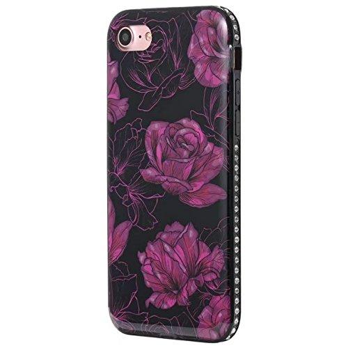 Blume gedrucktes Muster weiche schwarze TPU Gel-Shell-Stoßdämpfer-Abdeckung [Shockproof] glänzender Bling Funkeln-Rhinestone-rückseitige Abdeckungs-Fall für iPhone 7 ( Color : E ) C