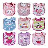 Kauftree 9er Baby Lätzchen Babylätzchen Babylatz Halstuch mit Klettverschluss Set Wasserdicht Baumwolle Cartoon (Mädchen)