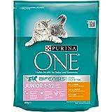Purina ONE BIFENSIS Junior Katzentrockenfutter: reich an Huhn und Vollkorn-Getreide I nach Muttermilch-Entwöhnung I 8er Pack (8 x 800 g)