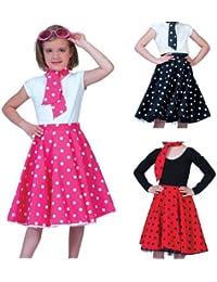 Fifties Petticoat Tellerrock mit Halstuch - Rock´n Roll Kostüm im 50´s Look für Mädchen