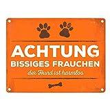trendaffe Achtung bissiges Frauchen Blechschild in 15x20 cm - Metallschild Reklameschild Dekoschild