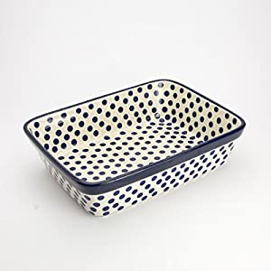 Polish Pottery Small Lasagne Dish – Small Blue Dot – 25 x 19cm