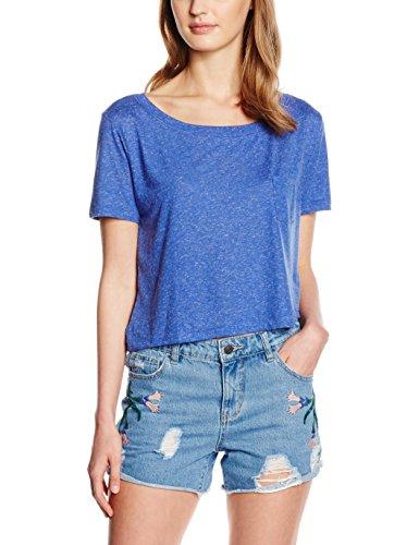 Vero Moda Vmlualissy Ss Wide Cropped Top Dnm A Wp, T-Shirt Femme Bleu (Deep Ultramarine Detail:MELANGE)