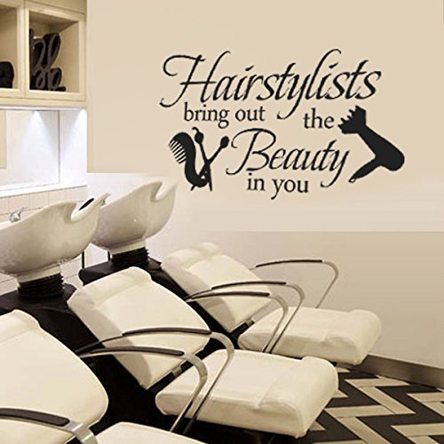 Hairstylists bring out the beauty in you vinyl wall decal beauty salon shop wall sticker wall quotes wall letters words wall graphic wall art decoration black by wallsup