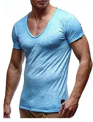 LEIF NELSON Herren Sommer T-Shirt V-Ausschnitt Slim Fit Baumwolle-Anteil | Moderner Männer T-Shirt V-Neck Hoodie-Sweatshirt Kurzarm lang | LN6280-1 Verw. Baby Blue XX-Large -