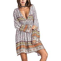 Mujer Vestidos De Verano de Playa Casual Vintage Bohemio Florales Estampados Hippies 3/4 Manga V Cuello