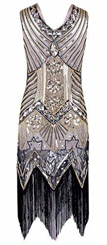 FEOYA Femme Robe Gatsby à Paillettes Robe 1920 Charleston Frange Vintage Déguisement Robe de Soirée Col en V sans Manche Robe Classique Vintage Costume 36 Or