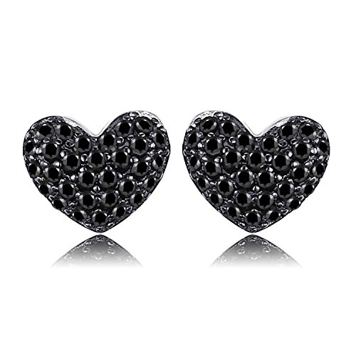 JewelryPalace 0.29ct Naturale Nero Spinello Amore Cuore Orecchini Argento Sterling 925