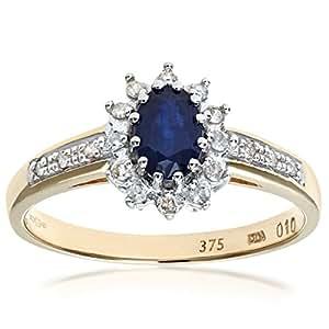 Naava Anello da Donna in Oro Bicolore 9K con Zaffiro e Diamanti, Misura 6.5