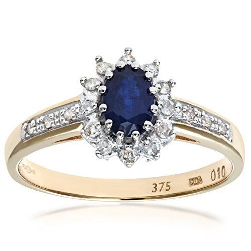 Naava-Bague Femme - Or jaune (9 carats) 2.18 Gr - Saphir - Diamant 0.1 Cts - T 55.5