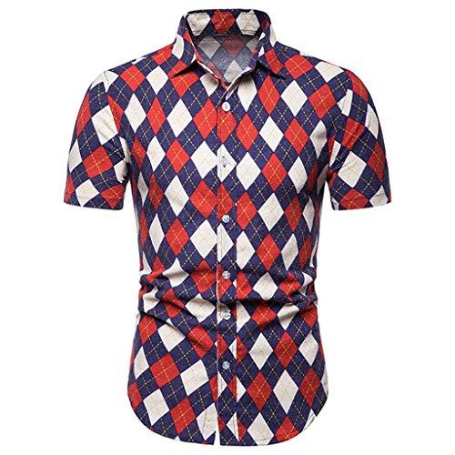 cinnamou Herren Hemd Kurzarm, Herren Sommer Shirt Freizeithemd Herrenmode Argyle Print Slim Fit Button Kurzarm Top Hemd Bluse -
