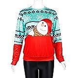 Amphia - Damen Weihnachten 3D Print Rundhals Sweatshirt,Frauen Mit Kapuze Outwear Mantel Lange Dicke Kunstpelzkragen Baumwolle Parka Dünne Jacke(Rot,L)