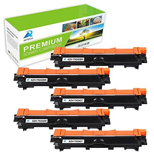 Preisvergleich Produktbild Aztech 5 Pack ersetzt TN-242BK TN-242C TN-242M TN-242Y Tonerkartuschen für Brother HL-3142CW HL-3152CDW HL-3172CDW ,DCP-9022CDW, MFC-9142CDN MFC-9332CDW MFC-9342CDW (2 schwarz,1 cyan, 1 magenta, 1 gelb)