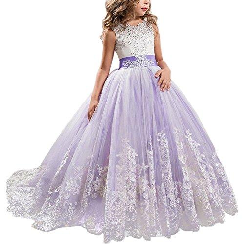 IBTOM CASTLE Blumenmädchen Festkleider Kleid Lang Brautjungfern Hochzeit Festlich Kleidung Festzug #4 Lila 12-13 Jahre