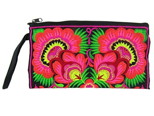 Blue Orchid Clutch, Boho Hmong Hill Tribe Tasche für Handy Kosmetik Reisetasche bestickt Handgelenk Geldbörse Medium -